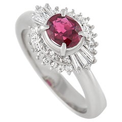 LB Exclusive Platinum 0.45 Ct Diamond and Ruby Ring