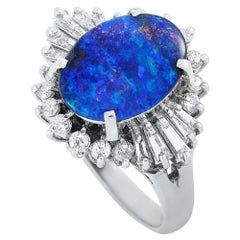 LB Exclusive Platinum 0.46 Carat Diamond and Opal Ring