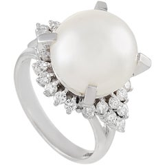 LB Exclusive Platinum 0.47 Carat Diamond and Pearl Ring