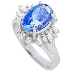 LB Exclusive Platinum 0.47 Carat Diamond and Sapphire Ring