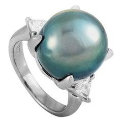LB Exclusive Platinum 0.47 Carat Diamond and Tahitian Pearl Ring