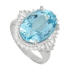 LB Exclusive Platinum 0.47 Ct Diamond and Aquamarine Ring