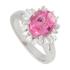 LB Exclusive Platinum 0.47 Ct Diamond and Tourmaline Ring