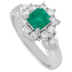 LB Exclusive Platinum 0.48 Ct Diamond and Emerald Ring