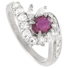 LB Exclusive Platinum 0.50 Carat Diamond and 0.68 Carat Ruby Ring