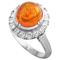 LB Exclusive Platinum 0.50 Carat Diamond and Opal Ring
