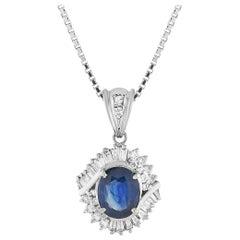 LB Exclusive Platinum 0.50 Carat Diamond and Sapphire Pendant Necklace