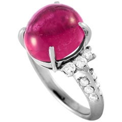 LB Exclusive Platinum 0.50 Carat Diamond and Tourmaline Ring