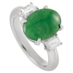 LB Exclusive Platinum 0.51 Carat Diamond and 3.60 Carat Jade Ring