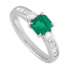 LB Exclusive Platinum 0.51 Ct Diamond and Emerald Ring