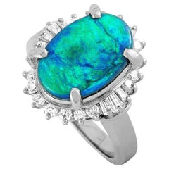 LB Exclusive Platinum 0.53 Carat Diamond and Opal Ring