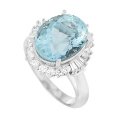 LB Exclusive Platinum 0.53 Ct Diamond and Aquamarine Ring