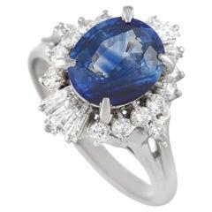 LB Exclusive Platinum 0.53 Ct Diamond and Sapphire Ring