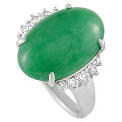 LB Exclusive Platinum 0.54 Ct Diamond and Jade Ring