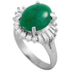 LB Exclusive Platinum 0.56 Carat Diamond and Jade Ring