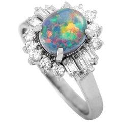 LB Exclusive Platinum 0.57 Carat Diamond and Opal Ring