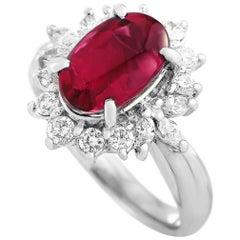 LB Exclusive Platinum 0.58 Carat Diamond and Tourmaline Ring