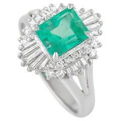 LB Exclusive Platinum 0.59 Ct Diamond and Emerald Ring