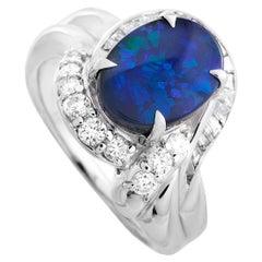 LB Exclusive Platinum 0.60 Carat Diamond and Opal Ring
