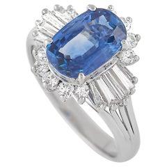 LB Exclusive Platinum 0.61 Ct Diamond and Sapphire Ring