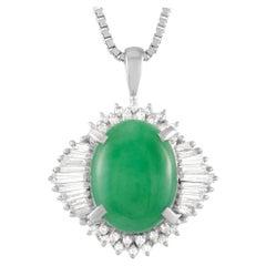 LB Exclusive Platinum 0.62 Ct Diamond and Jade Pendant Necklace