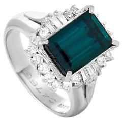 LB Exclusive Platinum 0.63 Carat Diamond and Tourmaline Ring