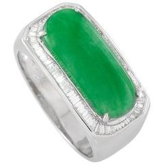 LB Exclusive Platinum 0.65 Carat Diamond and 3.25 Carat Jade Ring