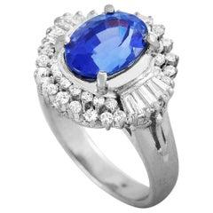LB Exclusive Platinum 0.65 Carat Diamond and Tanzanite Ring