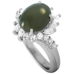 LB Exclusive Platinum 0.66 Carat Diamond and Cat's Eye Ring