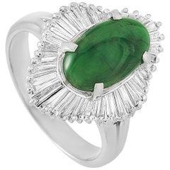 LB Exclusive Platinum 0.69 Carat Diamond and Jade Ring