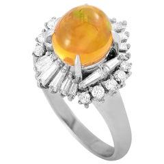 LB Exclusive Platinum 0.71 Carat Diamond and Opal Ring
