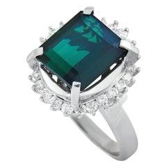 LB Exclusive Platinum 0.71 Carat Diamond and Tourmaline Ring