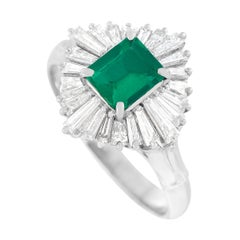 LB Exclusive Platinum 0.71 Ct Diamond and Emerald Ring