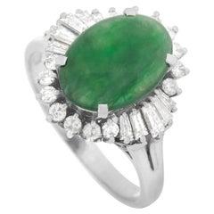 LB Exclusive Platinum 0.72 Carat Diamond and Jade Ring