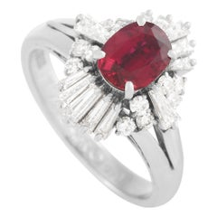 LB Exclusive Platinum 0.73 Carat Diamond and 0.80 Carat Ruby Ring