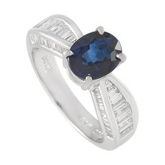 LB Exclusive Platinum 0.73ct Diamond and Blue Sapphire Ring