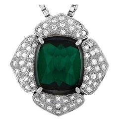 LB Exclusive Platinum 0.74 Carat Diamond and Tourmaline Pendant Necklace