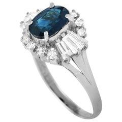LB Exclusive Platinum 0.77 Carat Diamond and Sapphire Ring