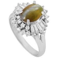 LB Exclusive Platinum 0.78 Carat Diamond and Cat's Eye Ring