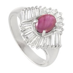 LB Exclusive Platinum 0.78 Ct Diamond and Ruby Ring
