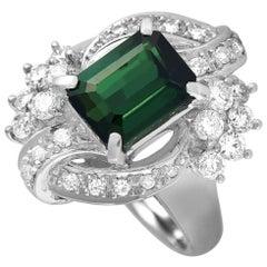 LB Exclusive Platinum 0.79 Carat Diamond and Tourmaline Ring