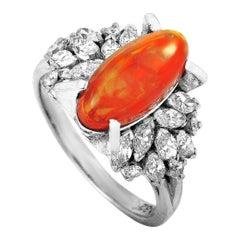 LB Exclusive Platinum 0.82 Carat Diamond and Opal Ring