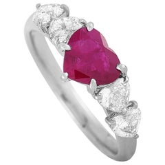 LB Exclusive Platinum 0.85 Carat Diamond and Ruby Ring
