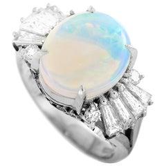 LB Exclusive Platinum 0.86 Carat Diamond and Opal Ring