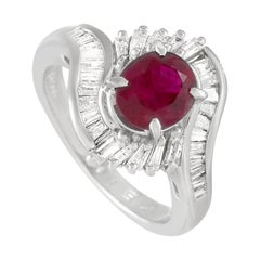 LB Exclusive Platinum 0.86 Ct Diamond and Ruby Ring