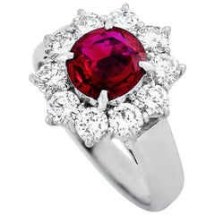 LB Exclusive Platinum 0.87 Carat Diamond and Ruby Ring