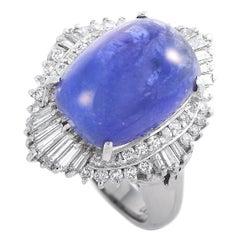 LB Exclusive Platinum 0.87 Carat Diamond and Tanzanite Ring
