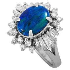 LB Exclusive Platinum 0.88 Carat Diamond and Opal Ring