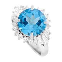 LB Exclusive Platinum 0.93 Ct Diamond and Topaz Ring