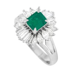 LB Exclusive Platinum 0.94 Ct Diamond and Emerald Ring